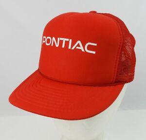Vintage Red Pontiac mesh back trucker hat Snapback Fiero Trans Am Firebird