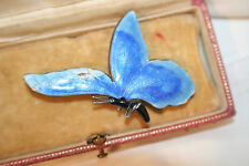Beautiful big blue sterling silver and enamel butterfly brooch