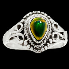 Genuine & Rare Chalama Black Opal 925 Sterling Silver Ring Jewelry s.7 RR68526