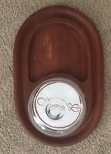 "VTG Goodwood TEAK wood cheese serving tray w glass dome Thailand Large 21"" x 11"