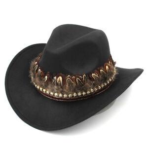 Fashion Women Men Wool Western Wide Brim Cowboy Hat Feather Tassel Band Decorate