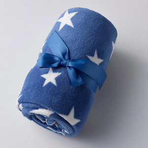 Blue & White Stars Fleece Baby Blanket  Cot Pram Baby Snuggle Wrap