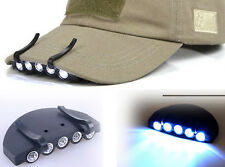 Bright 5 LED Clip on Hat Head Cap Light headlamp Flashlight