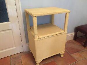 Vintage Wicker Bedside Table Cabinet Linen Laundry Basket In Lloyd Loom style