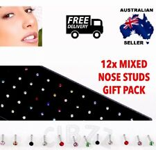 12x Nose Stud Ring Crystal Multi Color Rhinestone S/steel Piercings Gift Pack