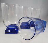 Set of 4 Vintage Cobalt Blue Square Base Cordial Glasses - Color is stunning 😍