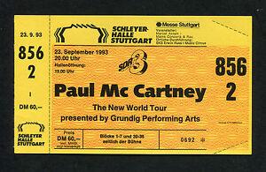 Original Paul McCartney 1993 Unused Full Concert Ticket New World Tour Stuttgart