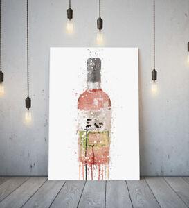 PINK GIN BOTTLE -DEEP FRAMED CANVAS WALL SPLASH ART PICTURE PAPER PRINT- PINK