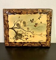 """Vintage Rare Painting On Wood """"Owls On Branch With Nest"""" By Jenkins"""