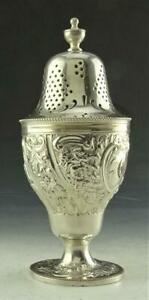ANTIQUE MADE IN ENGLAND SILVERPLATE REPOUSSE CASTER MUFFINEER SUGAR SHAKER L@@K!