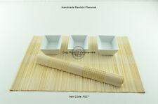 6 fatto a mano in bambù tovagliette fatti a mano Tavolo Stuoie, Bianco-Crema P027