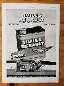 1935 Reklame Werbung 2 / Öl Renault Motorenöl Bas Gui Unterwäsche
