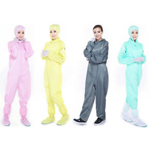Reusable Coveralls Anti-static Hood Painters Protective Overalls Suit 7 Colors