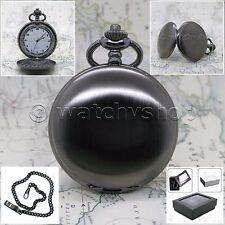 BLACK color Antique Pocket Watch 47 MM Quartz Men Gift Chain and Gift Box P146