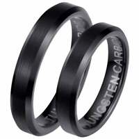 His And Hers Matching Black Tungsten 4mm Wedding Engagement Couple Ring Set