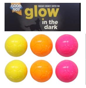 Good Boy Glow in The Dark Balls x 6 Yellow Pink Dog Puppy Toy Fetch Throw Squeak