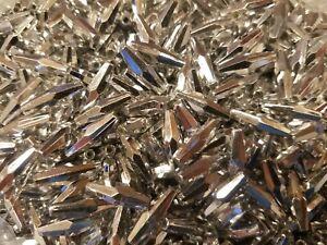 500 pcs Metallic Silver Plastic Elongated Bicone 18mm x 6mm Craft Beads