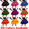 Women Girl Satin Short Mini Tiered Skirt Ruffle Dress Pleated Retro Elastic