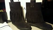 Casadei Fold Over Boots, Black Suede, Size 39, Brand New With Box