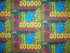 SESAME STREET COOKIE MONSTER FOOTBALL TOUCH DOWN FLANNEL FABRIC FQ OOP