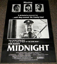 MIDNIGHT 1982 ORIG. B&W STYLE 27x41 MOVIE POSTER! John Russo's ZOMBIE HORROR!