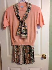 Bedford Fair ~Peach Knitwear ~Cotton ~3 piece Suit ~Top, Scarf & Skirt ~Sz.MP