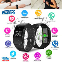 Fitness Tracker Wristband Watch Blood Pressure Heart Rate Monitor Waterproof US