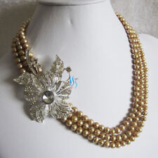 """18-20"""" 5-7mm Dark Champagne 3Row Freshwater Pearl Necklace XX2844"""