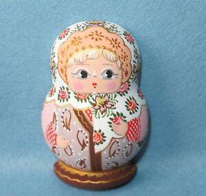 Matryoshka White Cream Fridge Magnet Russian doll HAND PAINTED MITINA signed ART