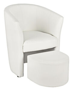 Armchair Rita With Pouf, White Color