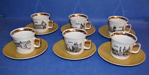 KAFFEE SERVICE PRAG Ansichten 6x Tassengedeck EPIAG Goldrand NEU
