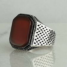 Solid 925 Sterling Silver Mens Ring Red Agate Gemstone HandMade Ottoman Style