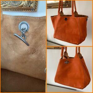 Tods Orange Leather Shoulder Bag Bucket Handbag Vintage Designer Soft Tote