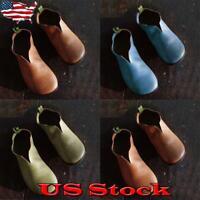 Vintage Women Leather Round Toe Slip-On Loafers Flat Comfort V-Neck SIngle Shoes