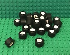 Lego X24 Tire 14mm D. X 9mm Smooth Small Wide Slick With White Wheel Rims Parts
