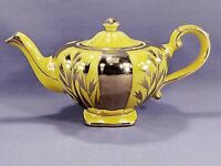 Arthur Wood Vintage Porcelain Tea Pot Yellow Gold Trim Made In England