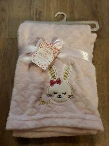 ZAK & ZOEY Baby Blanket pink bunny rabbit love Girls Infant Lovey Soft NEW NWT