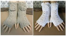 Fingerless Gloves, Crochet Arm Warmers, Camel Burlesque Glove, Wool Flower