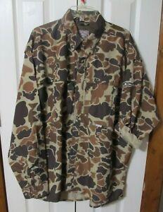 Drake Old School Camo Shirt Men 2XL Hunting Button Shirt Vented L/S