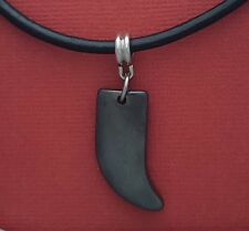 Black Shark Tooth Necklace Leather Hematite Charm Pendant and Cord