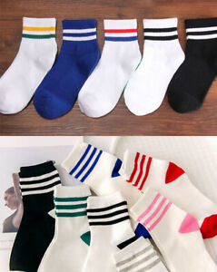 Ladies Casual College Sports Cotton Ankle Socks with Stripe 1 Pair