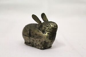 Antique Silver Rabbit Trinket Box Bunny Pill Holder Candy Container