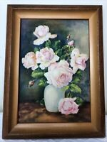 "Vintage Hannes Petersen Art Print Pink Roses Signed 6.5"" x 8.5"""