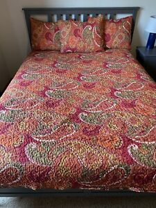 Lands End full reversible quilt w/ vibrant colors lightweight fall