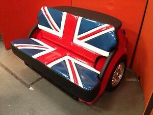 Retro Union Jack Flag Sofa Car Furniture Garage Mancave Reception Area Seating