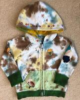 LUCKY 18-24 Months Girls Tie Dye Hoodie Cardigan Swratshirt Zipper Embroidered