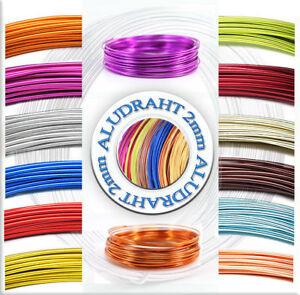 Aluminiumdraht Aludraht Basteldraht 2mm  27 Farben Verschiedene Längen