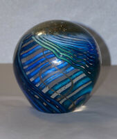 Marilyn Kimble Holt With Gold Swirl Art Glass Paperweight Bubbles 2006 Signed