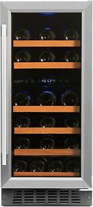 Smith & Hanks 32 Bottle Under Counter Wine Refrigerator, Dual Temperature Zones,