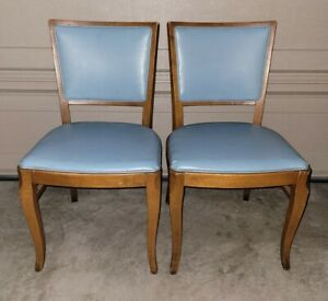 Thonet Mid Century Modern Blue Chair Lot of 2 / Retro 1950s
